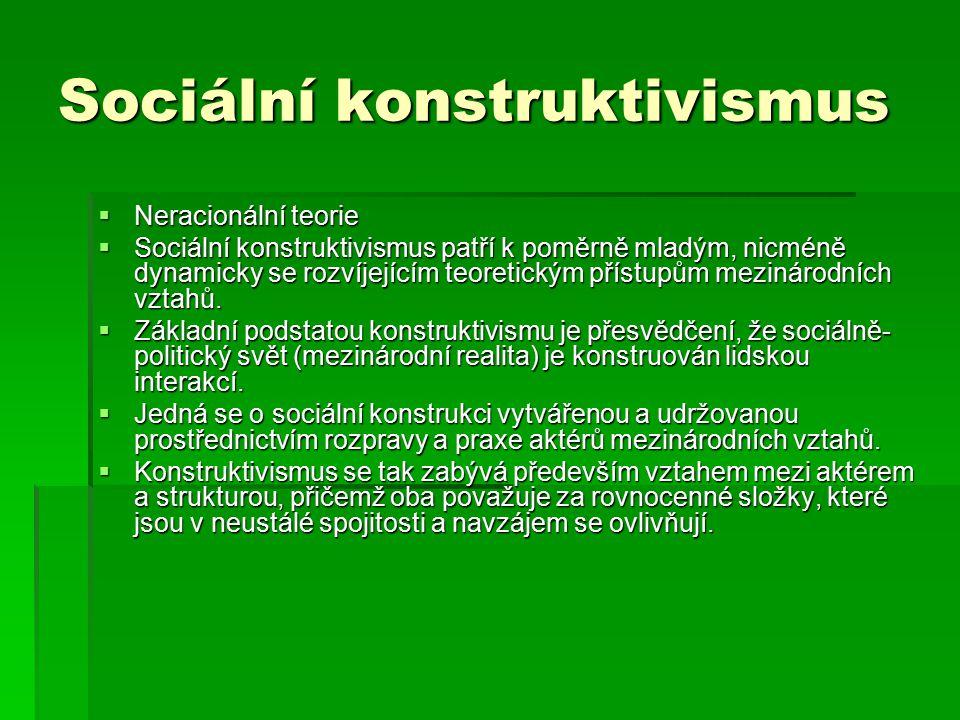 Sociální konstruktivismus  Neracionální teorie  Sociální konstruktivismus patří k poměrně mladým, nicméně dynamicky se rozvíjejícím teoretickým přís