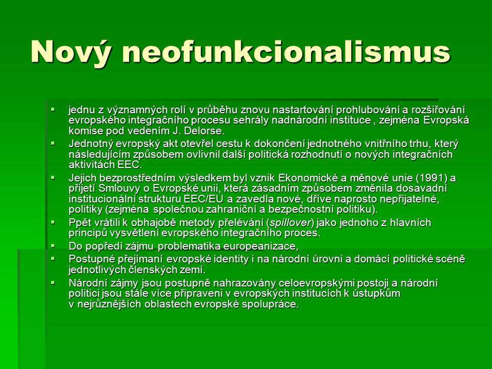 Nový neofunkcionalismus  Zaujetí postoje k základním tezím původní teorie neofunkcionalismu.