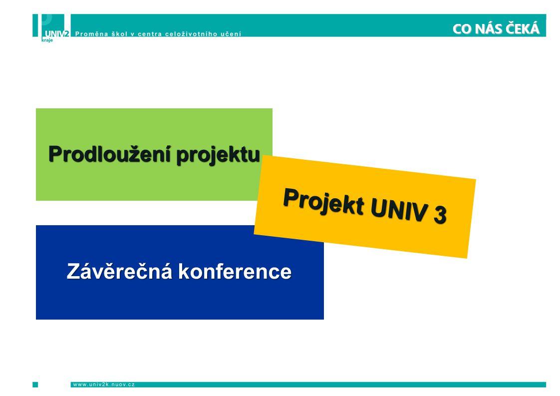 CO NÁS ČEKÁ Prodloužení projektu Závěrečná konference Projekt UNIV 3