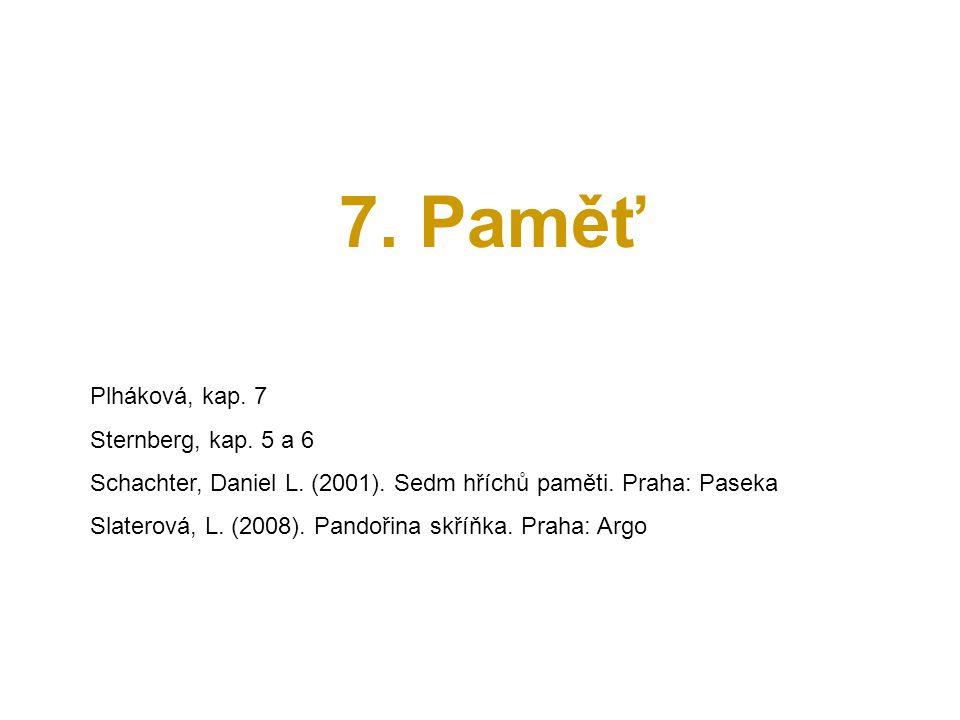 7. Paměť Plháková, kap. 7 Sternberg, kap. 5 a 6 Schachter, Daniel L. (2001). Sedm hříchů paměti. Praha: Paseka Slaterová, L. (2008). Pandořina skříňka