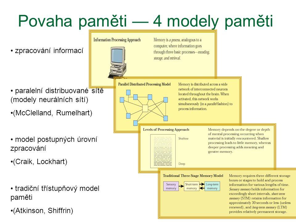 Povaha paměti — 4 modely paměti zpracování informací paralelní distribuované sítě (modely neurálních sítí) (McClelland, Rumelhart) model postupných úr