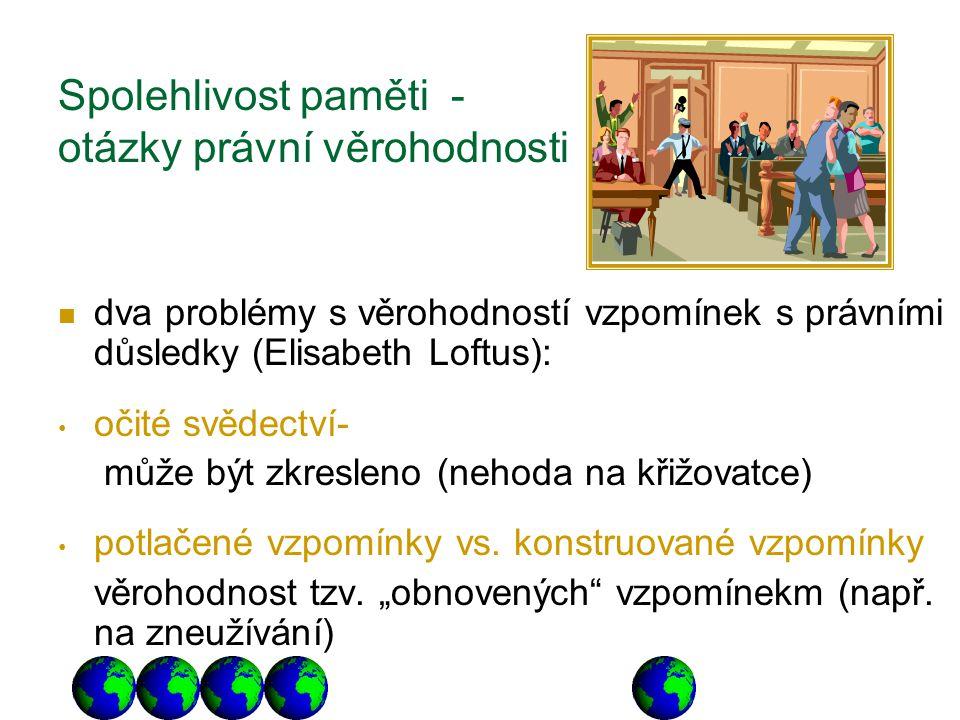 Spolehlivost paměti - otázky právní věrohodnosti dva problémy s věrohodností vzpomínek s právními důsledky (Elisabeth Loftus): očité svědectví- může b