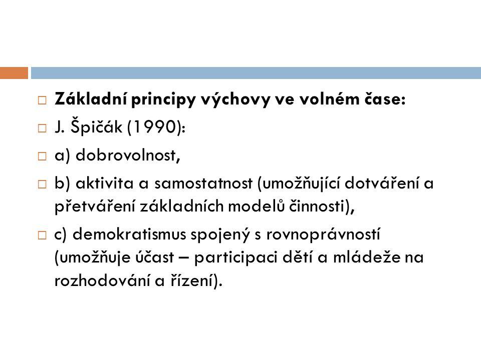  Základní principy výchovy ve volném čase:  J. Špičák (1990):  a) dobrovolnost,  b) aktivita a samostatnost (umožňující dotváření a přetváření zák