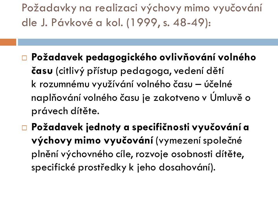 Požadavky na realizaci výchovy mimo vyučování dle J. Pávkové a kol. (1999, s. 48-49):  Požadavek pedagogického ovlivňování volného času (citlivý přís