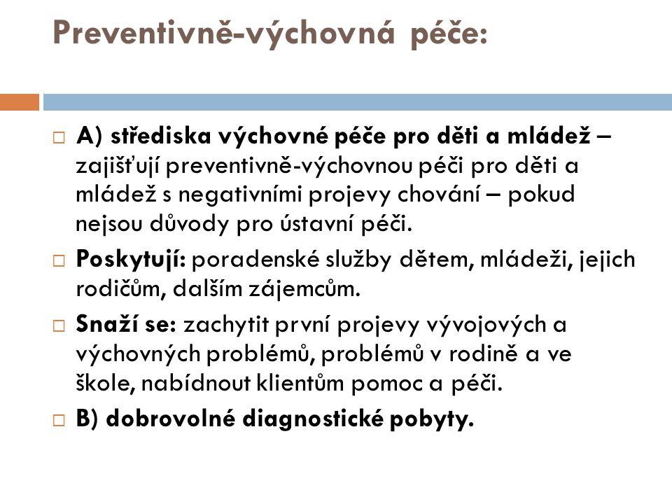 Preventivně-výchovná péče:  A) střediska výchovné péče pro děti a mládež – zajišťují preventivně-výchovnou péči pro děti a mládež s negativními proje