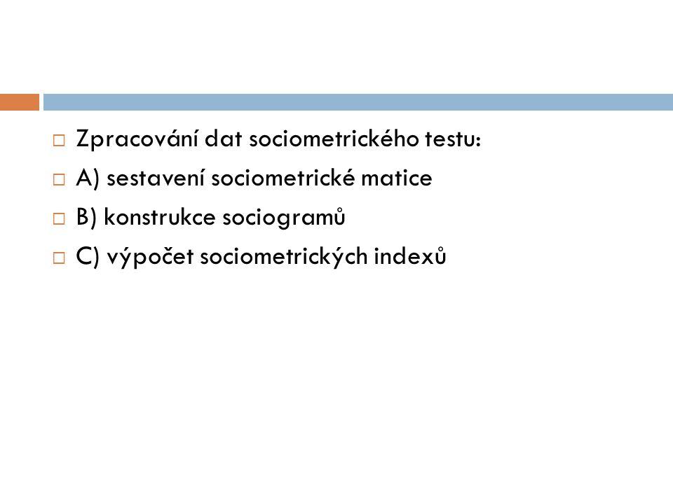  Zpracování dat sociometrického testu:  A) sestavení sociometrické matice  B) konstrukce sociogramů  C) výpočet sociometrických indexů