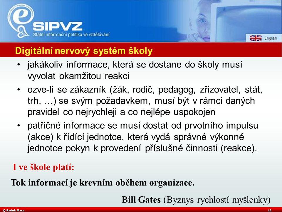 © Radek Maca12 Digitální nervový systém školy jakákoliv informace, která se dostane do školy musí vyvolat okamžitou reakci ozve-li se zákazník (žák, r