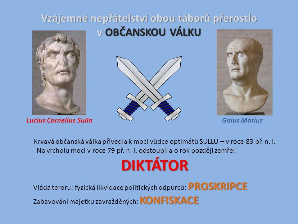 Vzájemné nepřátelství obou táborů přerostlo v OBČANSKOU VÁLKU Gaius MariusLucius Cornelius Sulla Krvavá občanská válka přivedla k moci vůdce optimátů