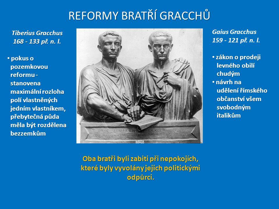 REFORMY BRATŘÍ GRACCHŮ Tiberius Gracchus 168 - 133 př. n. l. pokus o pozemkovou reformu - stanovena maximální rozloha polí vlastněných jedním vlastník