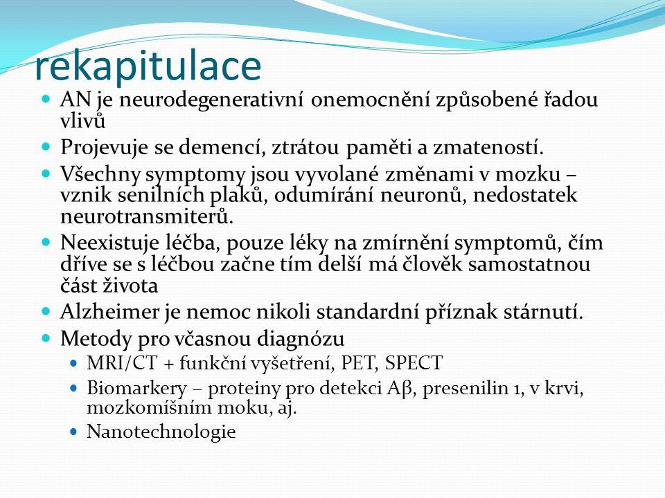 rekapitulace AN je neurodegenerativní onemocnění způsobené řadou vlivů Projevuje se demencí, ztrátou paměti a zmateností. Všechny symptomy jsou vyvola