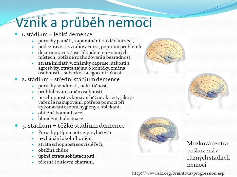 Vznik a průběh nemoci 1. stádium = lehká demence poruchy paměti, zapomínání, zakládání věcí, podezíravost, vztahovačnost, popírání problémů, dezorient