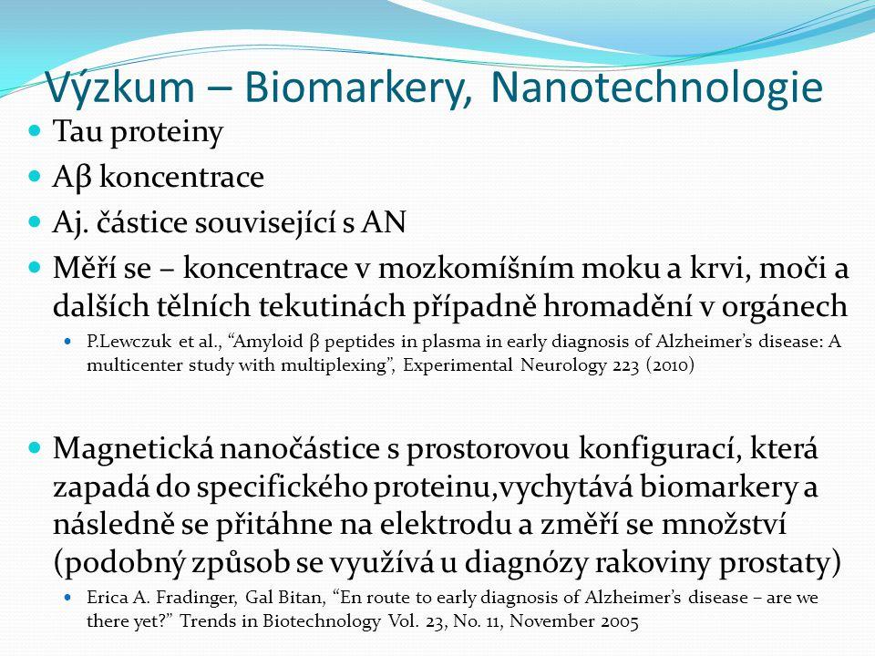 Výzkum – Biomarkery, Nanotechnologie Tau proteiny Aβ koncentrace Aj. částice související s AN Měří se – koncentrace v mozkomíšním moku a krvi, moči a