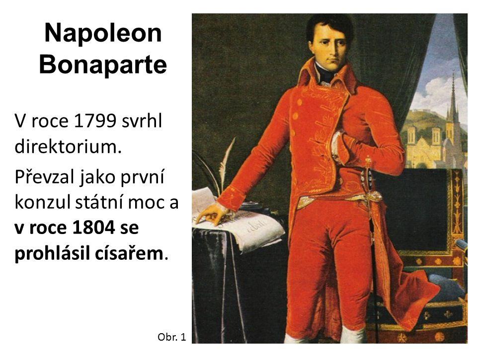 Napoleon Bonaparte V roce 1799 svrhl direktorium. Převzal jako první konzul státní moc a v roce 1804 se prohlásil císařem. Obr. 1