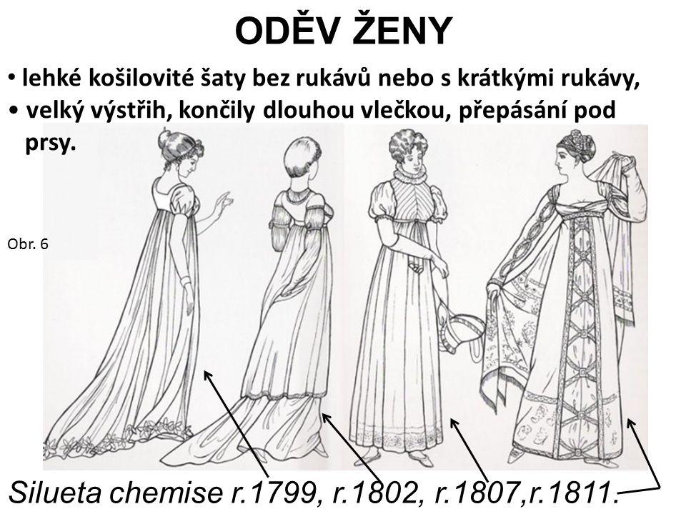 ODĚV ŽENY lehké košilovité šaty bez rukávů nebo s krátkými rukávy, velký výstřih, končily dlouhou vlečkou, přepásání pod prsy. Silueta chemise r.1799,