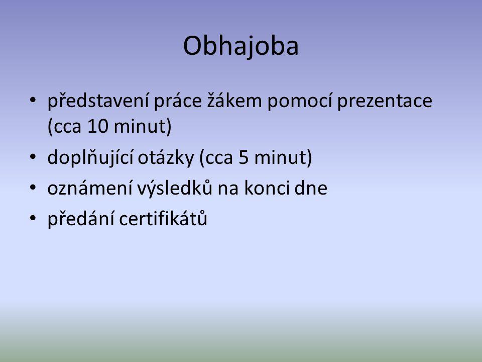 Obhajoba představení práce žákem pomocí prezentace (cca 10 minut) doplňující otázky (cca 5 minut) oznámení výsledků na konci dne předání certifikátů