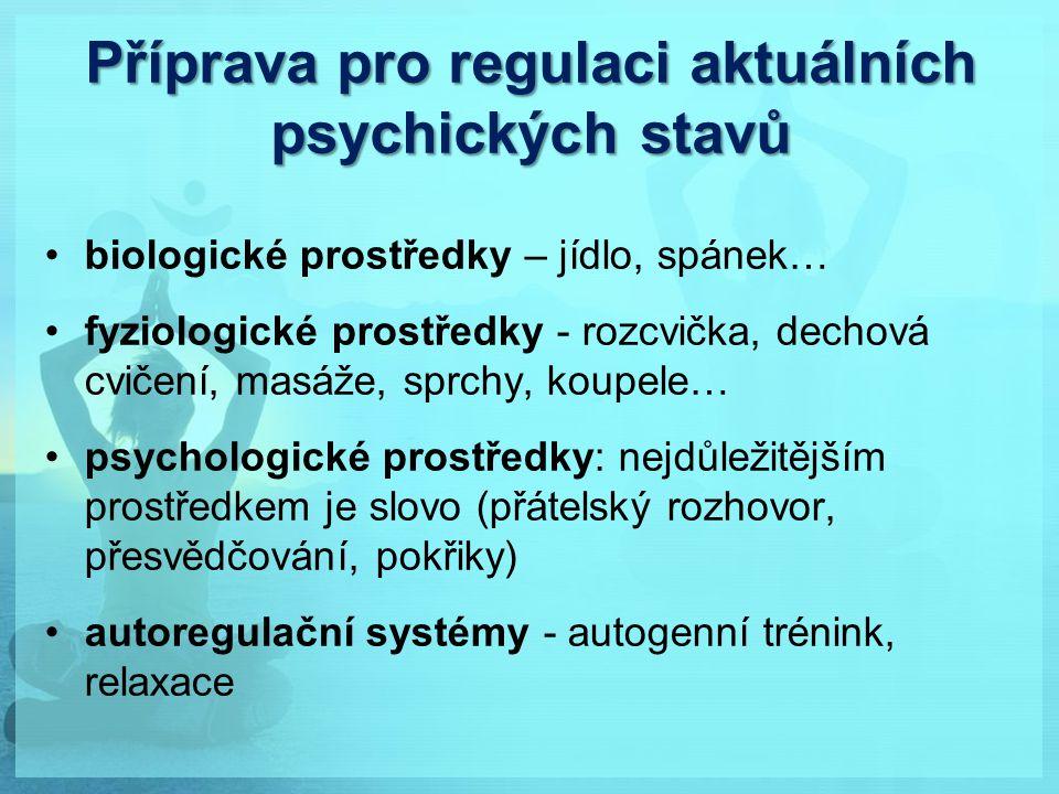 Příprava pro regulaci aktuálních psychických stavů biologické prostředky – jídlo, spánek… fyziologické prostředky - rozcvička, dechová cvičení, masáže