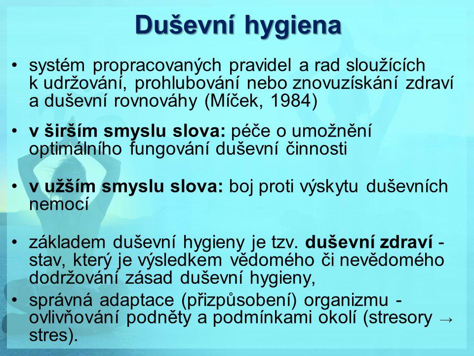 Duševní hygiena systém propracovaných pravidel a rad sloužících k udržování, prohlubování nebo znovuzískání zdraví a duševní rovnováhy (Míček, 1984) v