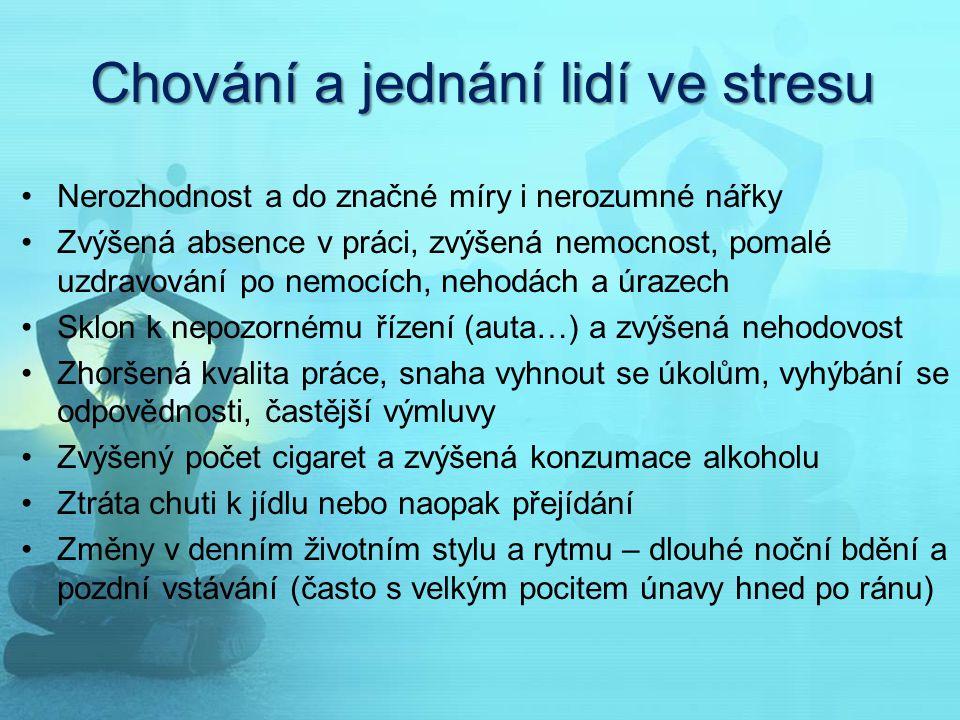 Chování a jednání lidí ve stresu Nerozhodnost a do značné míry i nerozumné nářky Zvýšená absence v práci, zvýšená nemocnost, pomalé uzdravování po nem
