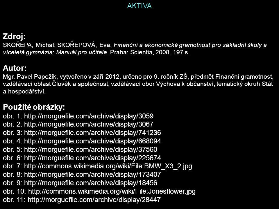 AKTIVA Zdroj: SKOŘEPA, Michal; SKOŘEPOVÁ, Eva.