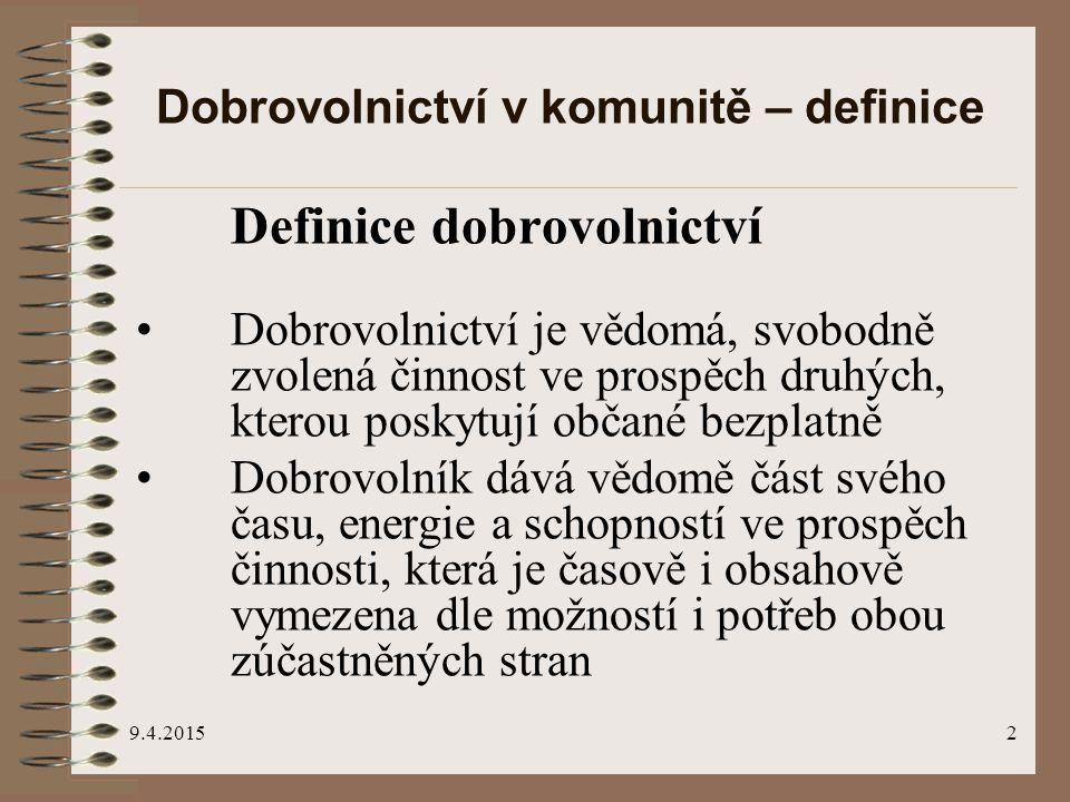9.4.20151 Dobrovolnictví v komunitě jako cesta k sociální soudržnosti Jiří Tošner jiri.tosner@hest.cz Na Poříčí 1041/12, 110 00 Praha 1 tel.: 224 872 075-7, fax: 224 872 076 e-mail: hestia@hest.czhestia@hest.cz www.hest.czwww.hest.cz, www.dobrovolnik.czwww.dobrovolnik.cz