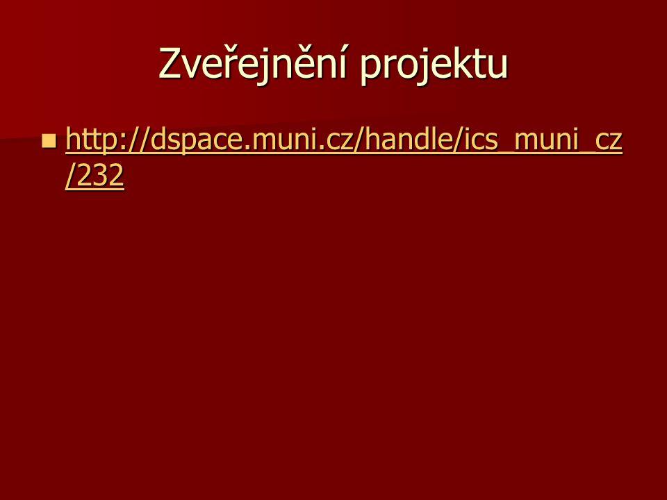 Zveřejnění projektu http://dspace.muni.cz/handle/ics_muni_cz /232 http://dspace.muni.cz/handle/ics_muni_cz /232 http://dspace.muni.cz/handle/ics_muni_cz /232 http://dspace.muni.cz/handle/ics_muni_cz /232