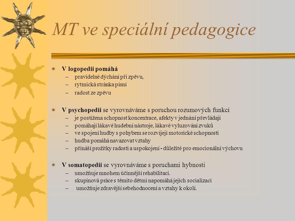 MT ve speciální pedagogice  V logopedii pomáhá –pravidelné dýchání při zpěvu, –rytmická stránka písní –radost ze zpěvu  V psychopedii se vyrovnáváme