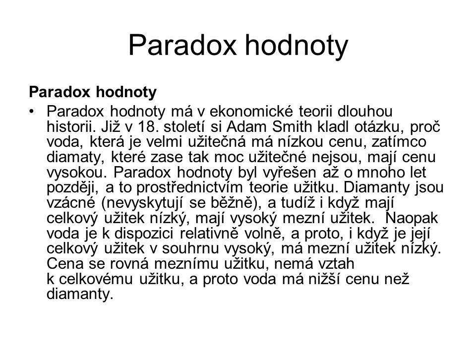 Paradox hodnoty Paradox hodnoty má v ekonomické teorii dlouhou historii. Již v 18. století si Adam Smith kladl otázku, proč voda, která je velmi užite