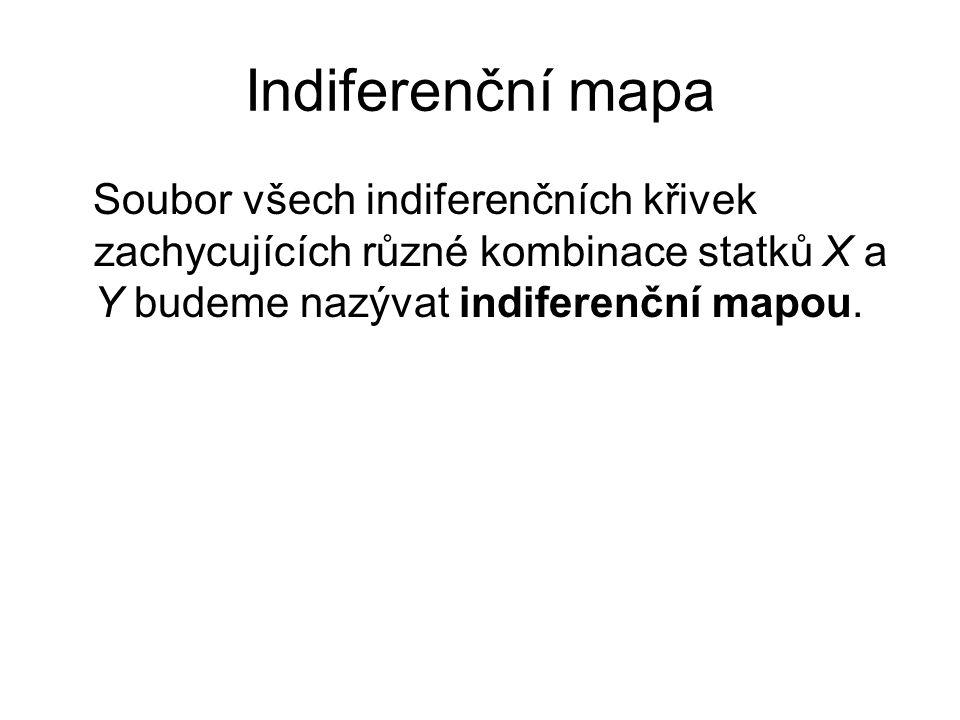 Indiferenční mapa Soubor všech indiferenčních křivek zachycujících různé kombinace statků X a Y budeme nazývat indiferenční mapou.