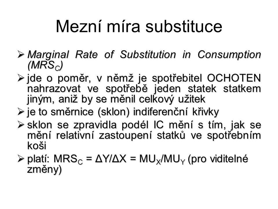 Mezní míra substituce  Marginal Rate of Substitution in Consumption (MRS C )  jde o poměr, v němž je spotřebitel OCHOTEN nahrazovat ve spotřebě jede