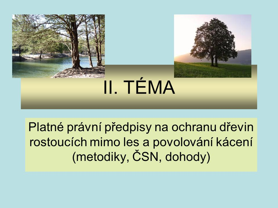II. TÉMA Platné právní předpisy na ochranu dřevin rostoucích mimo les a povolování kácení (metodiky, ČSN, dohody)