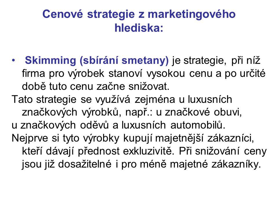 Skimming (sbírání smetany) je strategie, při níž firma pro výrobek stanoví vysokou cenu a po určité době tuto cenu začne snižovat. Tato strategie se v
