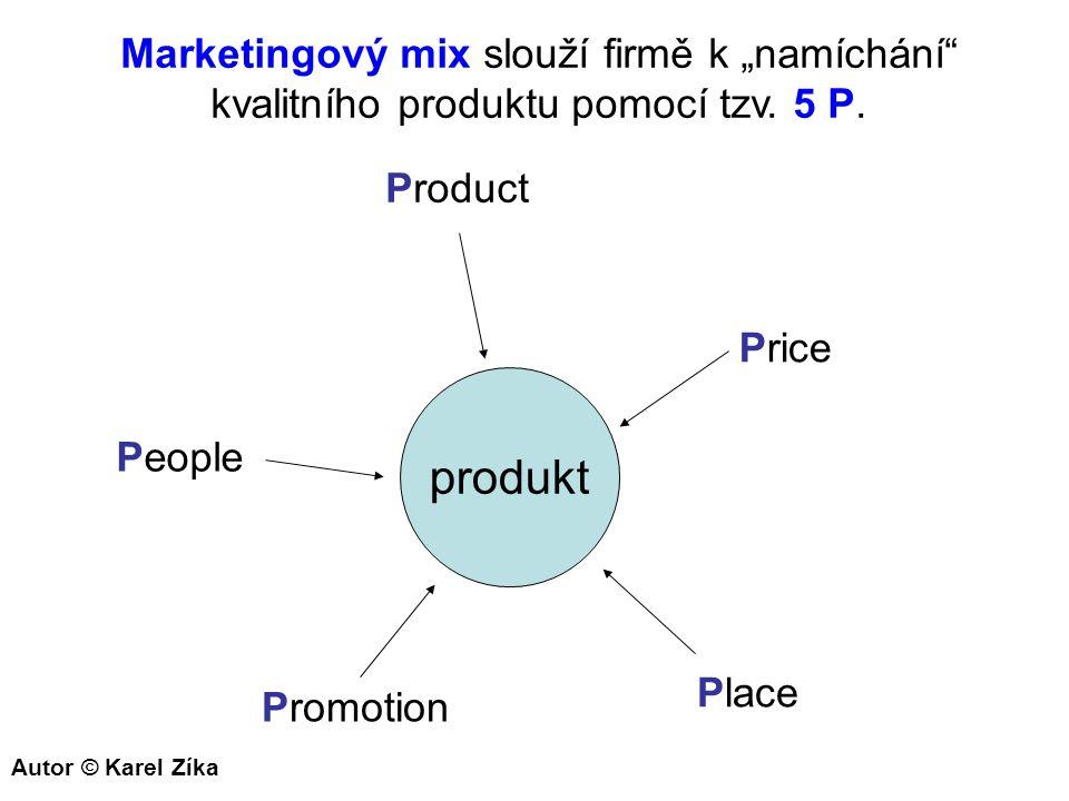 """produkt Product Price Place Promotion People Marketingový mix slouží firmě k """"namíchání"""" kvalitního produktu pomocí tzv. 5 P. Autor © Karel Zíka"""