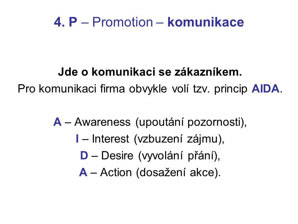 4. P – Promotion – komunikace Jde o komunikaci se zákazníkem. Pro komunikaci firma obvykle volí tzv. princip AIDA. A – Awareness (upoutání pozornosti)
