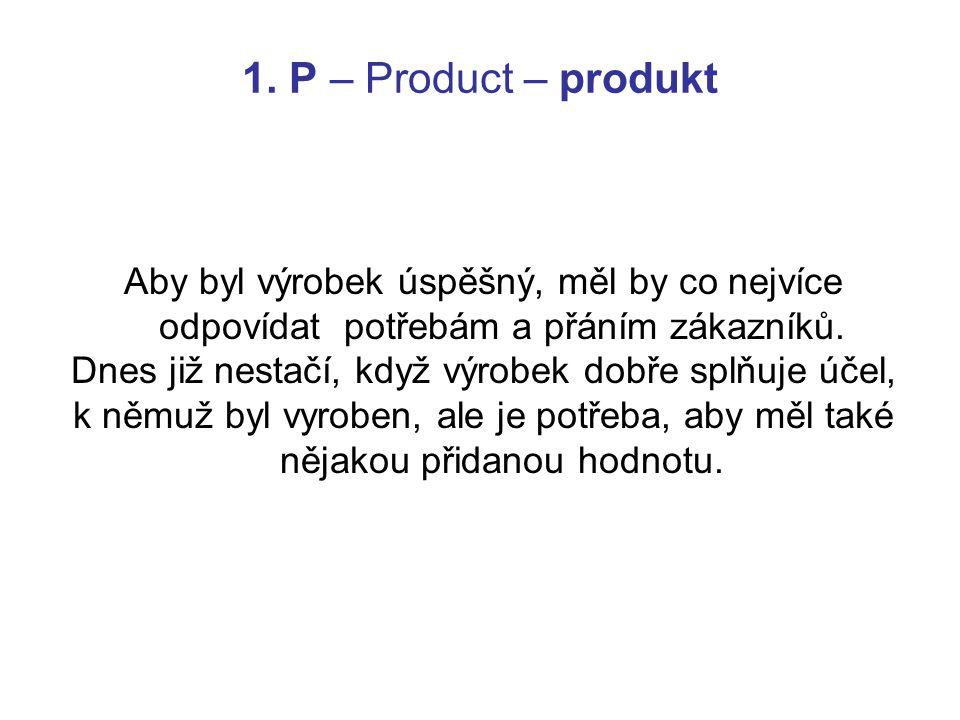 1. P – Product – produkt Aby byl výrobek úspěšný, měl by co nejvíce odpovídat potřebám a přáním zákazníků. Dnes již nestačí, když výrobek dobře splňuj