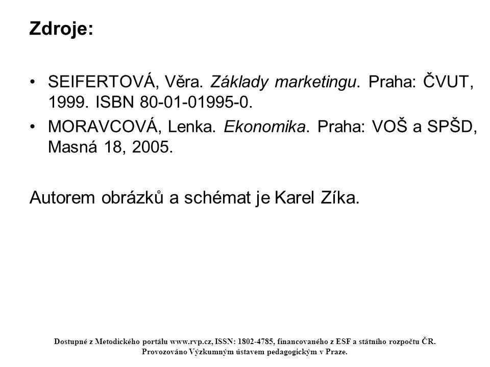 Zdroje: SEIFERTOVÁ, Věra. Základy marketingu. Praha: ČVUT, 1999. ISBN 80-01-01995-0. MORAVCOVÁ, Lenka. Ekonomika. Praha: VOŠ a SPŠD, Masná 18, 2005. A