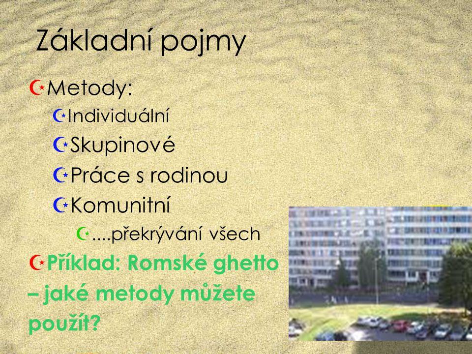 Základní pojmy  Metody:  Individuální  Skupinové  Práce s rodinou  Komunitní ....překrývání všech  Příklad: Romské ghetto – jaké metody můžete