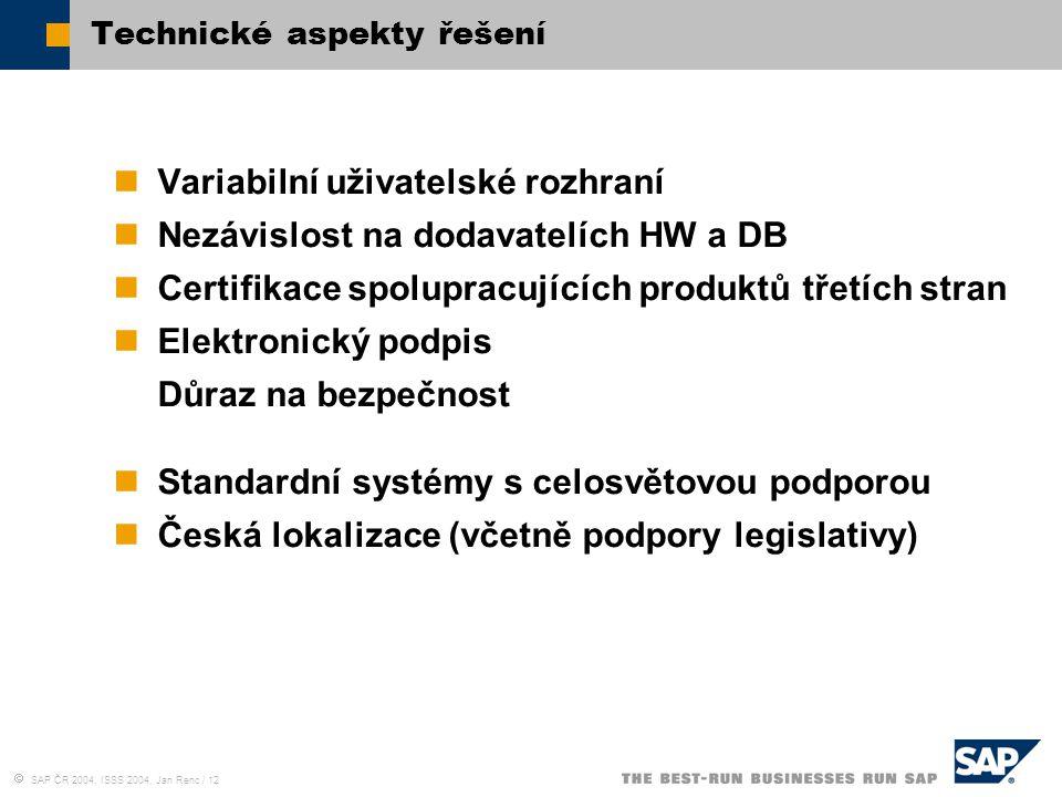  SAP ČR 2004, ISSS 2004, Jan Renc / 12 Technické aspekty řešení Variabilní uživatelské rozhraní Nezávislost na dodavatelích HW a DB Certifikace spolu