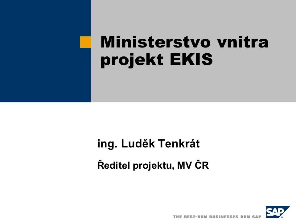 ing. Luděk Tenkrát Ředitel projektu, MV ČR Ministerstvo vnitra projekt EKIS