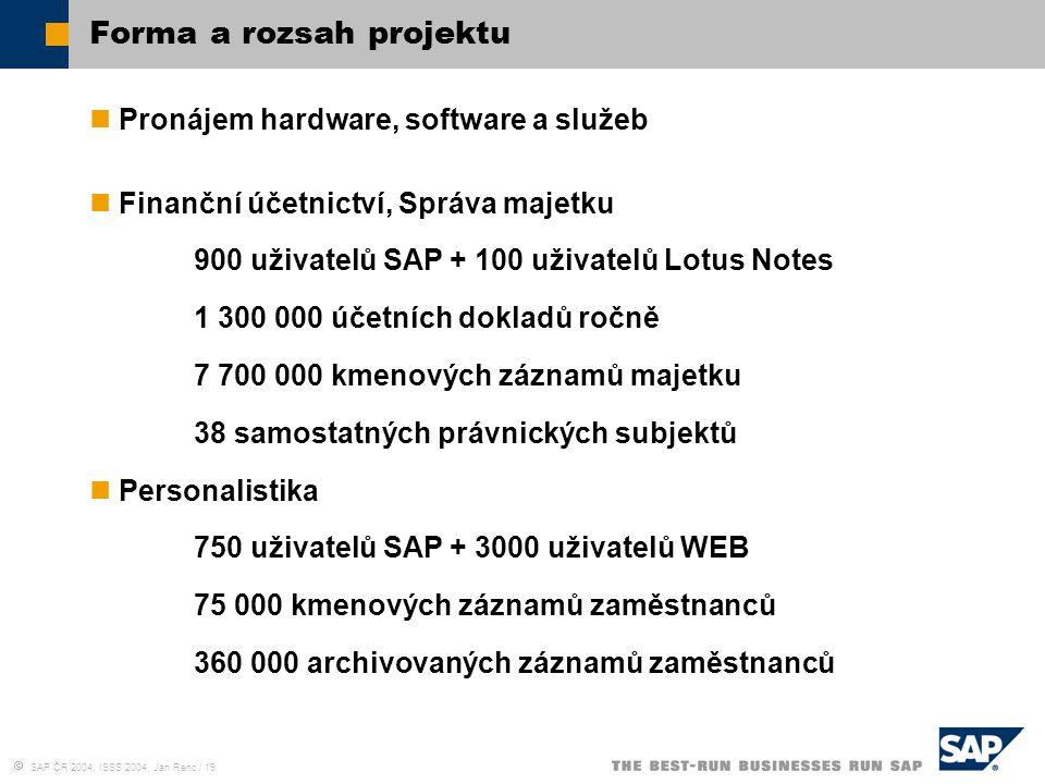  SAP ČR 2004, ISSS 2004, Jan Renc / 19 Forma a rozsah projektu Pronájem hardware, software a služeb Finanční účetnictví, Správa majetku 900 uživatelů