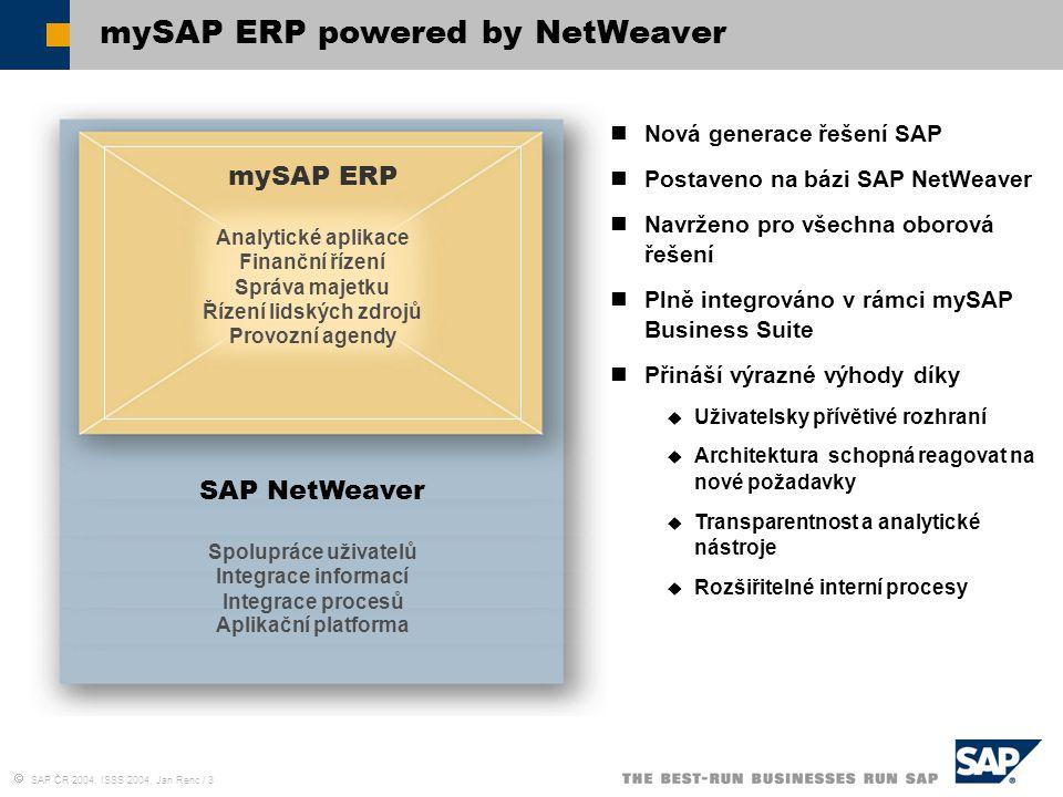  SAP ČR 2004, ISSS 2004, Jan Renc / 3 mySAP ERP powered by NetWeaver Nová generace řešení SAP Postaveno na bázi SAP NetWeaver Navrženo pro všechna ob