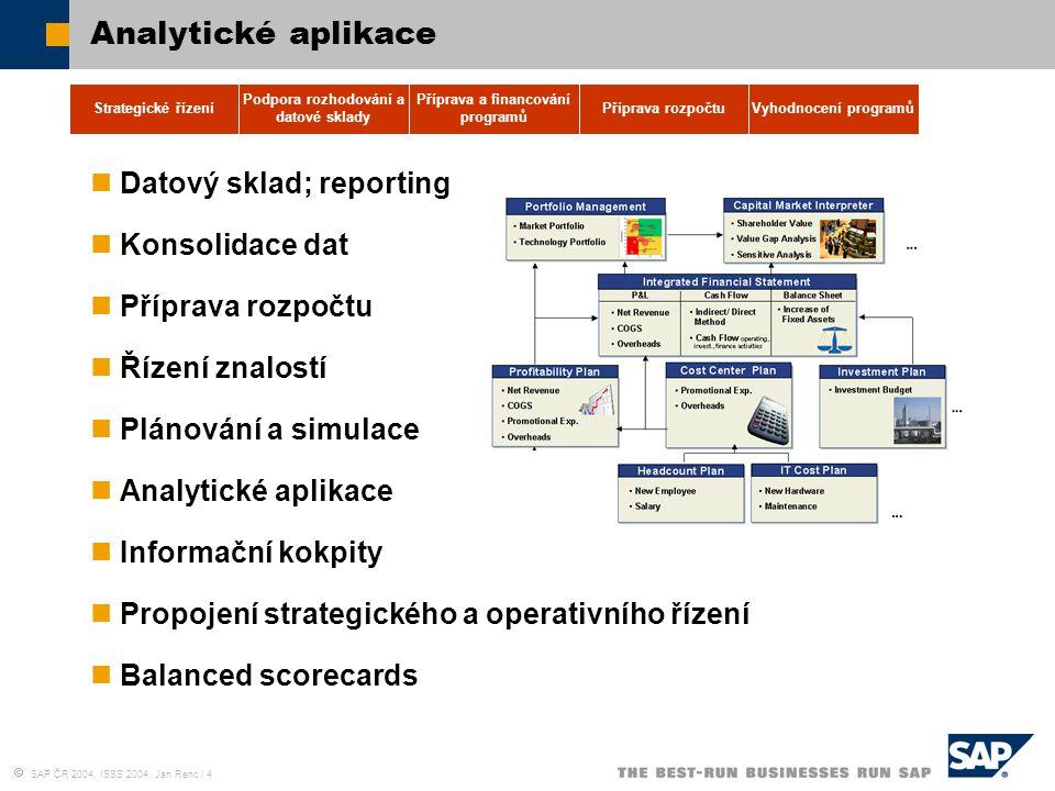  SAP ČR 2004, ISSS 2004, Jan Renc / 4 Analytické aplikace Datový sklad; reporting Konsolidace dat Příprava rozpočtu Řízení znalostí Plánování a simul