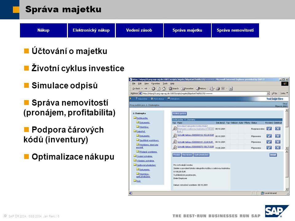  SAP ČR 2004, ISSS 2004, Jan Renc / 6 Správa majetku NákupElektronický nákupVedení zásobSpráva majetkuSpráva nemovitostí Účtování o majetku Životní c