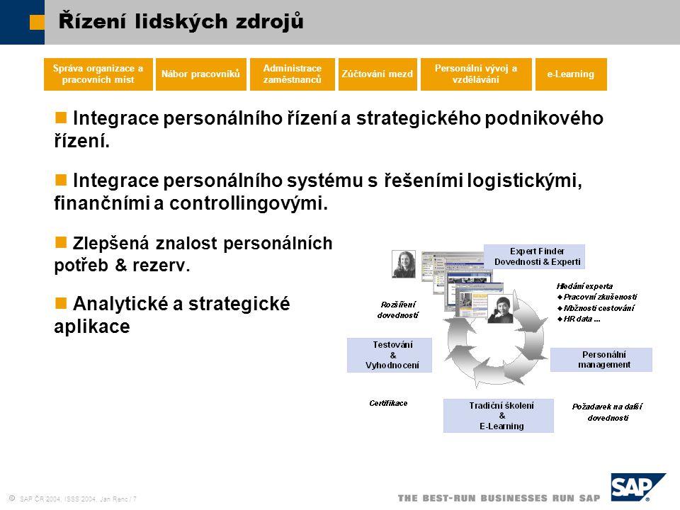  SAP ČR 2004, ISSS 2004, Jan Renc / 7 Řízení lidských zdrojů Správa organizace a pracovních míst Nábor pracovníků Administrace zaměstnanců Zúčtování