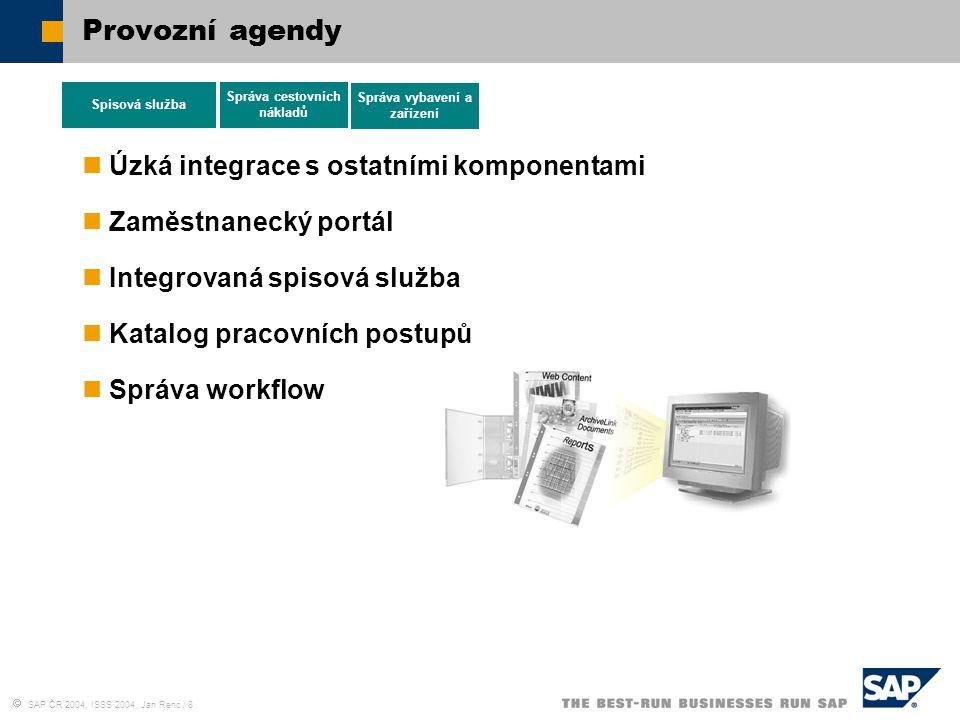  SAP ČR 2004, ISSS 2004, Jan Renc / 8 Provozní agendy Úzká integrace s ostatními komponentami Zaměstnanecký portál Integrovaná spisová služba Katalog