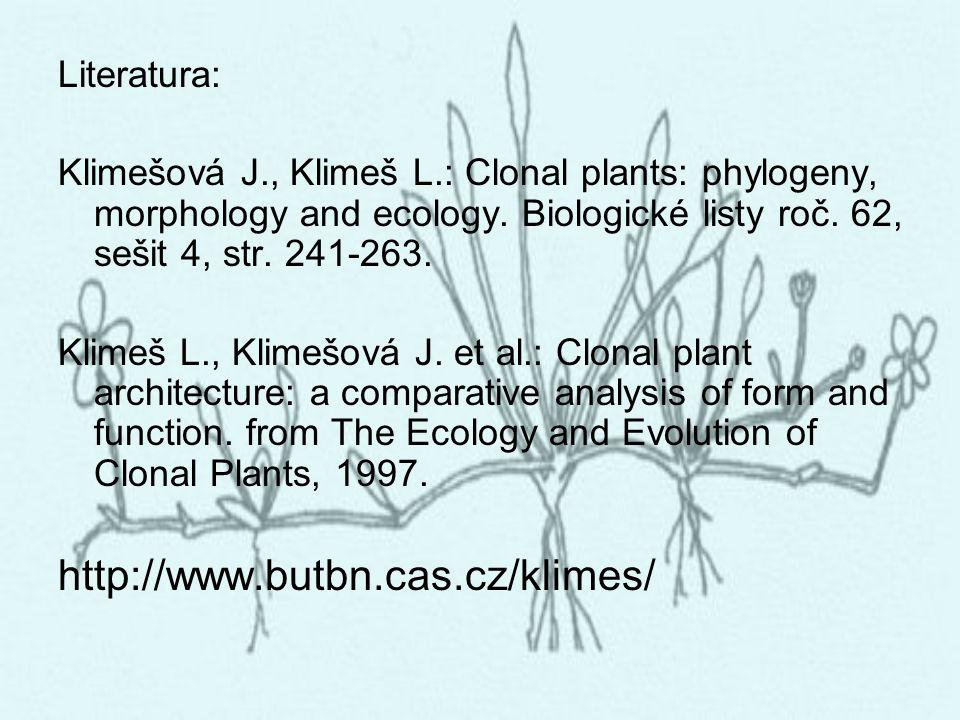 Literatura: Klimešová J., Klimeš L.: Clonal plants: phylogeny, morphology and ecology. Biologické listy roč. 62, sešit 4, str. 241-263. Klimeš L., Kli