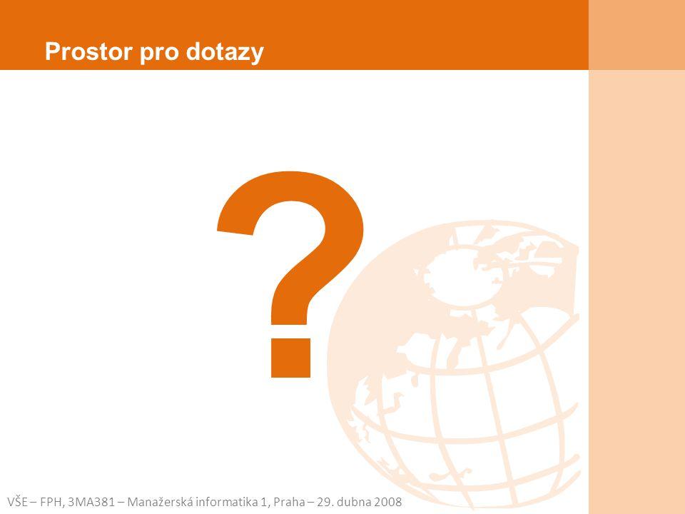 VŠE – FPH, 3MA381 – Manažerská informatika 1, Praha – 29. dubna 2008 ? Prostor pro dotazy