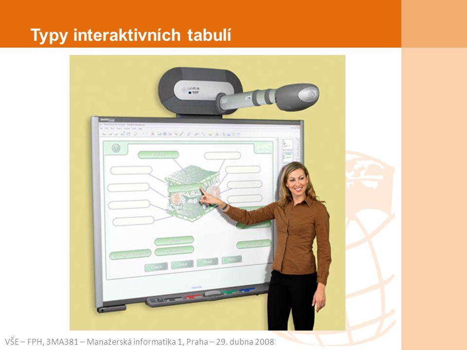 VŠE – FPH, 3MA381 – Manažerská informatika 1, Praha – 29. dubna 2008 Typy interaktivních tabulí