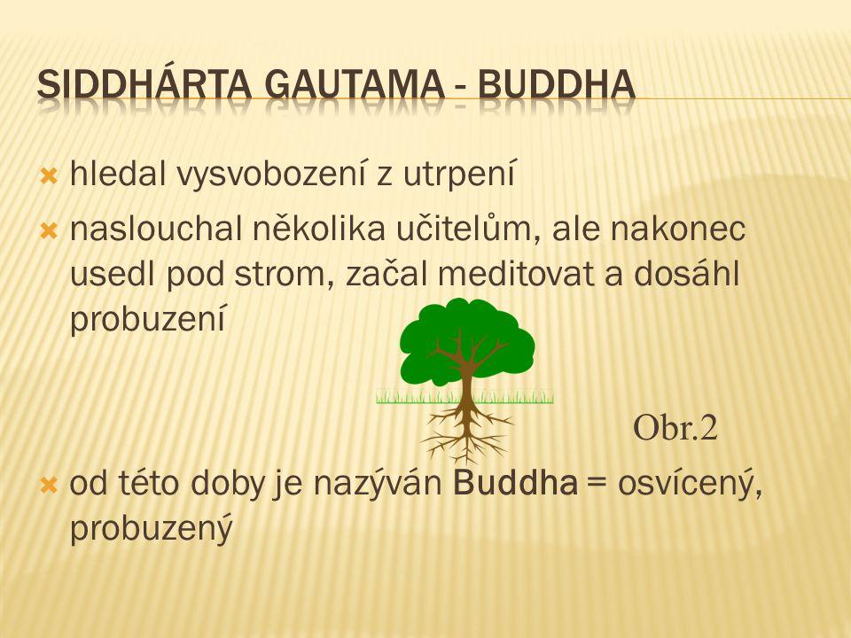  hledal vysvobození z utrpení  naslouchal několika učitelům, ale nakonec usedl pod strom, začal meditovat a dosáhl probuzení Obr.2  od této doby je nazýván Buddha = osvícený, probuzený