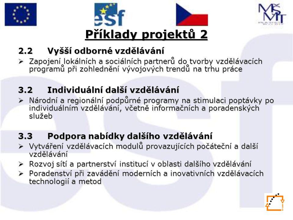 Příklady projektů 2 2.2 Vyšší odborné vzdělávání  Zapojení lokálních a sociálních partnerů do tvorby vzdělávacích programů při zohlednění vývojových trendů na trhu práce 3.2 Individuální další vzdělávání  Národní a regionální podpůrné programy na stimulaci poptávky po individuálním vzdělávání, včetně informačních a poradenských služeb 3.3 Podpora nabídky dalšího vzdělávání  Vytváření vzdělávacích modulů provazujících počáteční a další vzdělávání  Rozvoj sítí a partnerství institucí v oblasti dalšího vzdělávání  Poradenství při zavádění moderních a inovativních vzdělávacích technologií a metod