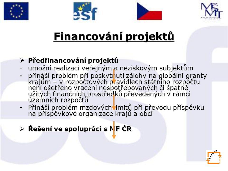 Financování projektů  Předfinancování projektů -umožní realizaci veřejným a neziskovým subjektům -přináší problém při poskytnutí zálohy na globální granty krajům – v rozpočtových pravidlech státního rozpočtu není ošetřeno vracení nespotřebovaných či špatně užitých finančních prostředků převedených v rámci územních rozpočtů -Přináší problém mzdových limitů při převodu příspěvku na příspěvkové organizace krajů a obcí  Řešení ve spolupráci s MF ČR